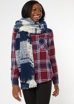 blue plaid fringe oversized blanket scarf - Main Image