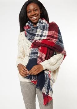 red plaid fringe oversized blanket scarf - Main Image