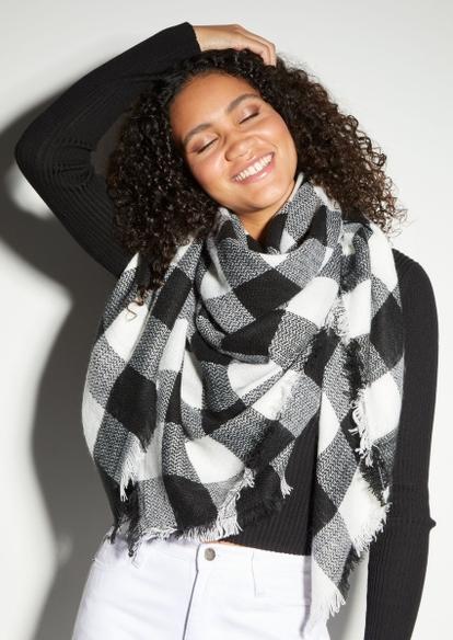 black buffalo plaid blanket scarf - Main Image