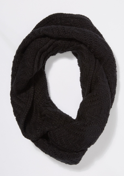 black cable knit infinity scarf - Main Image