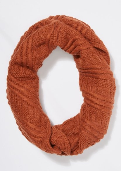 burnt orange cable knit infinity scarf - Main Image