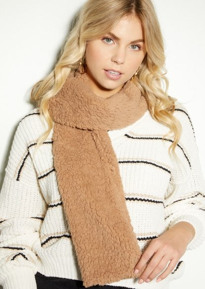 taupe sherpa noodle scarf - Main Image