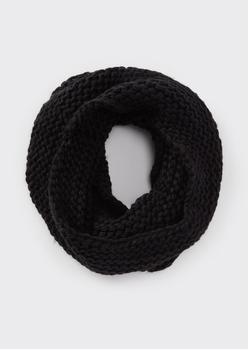 black soft knit infinity scarf - Main Image