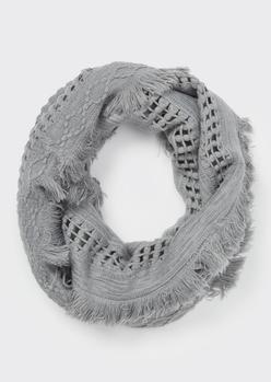 gray fluffy fringe weave infinity scarf - Main Image