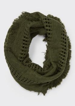 olive fluffy fringe weave infinity scarf - Main Image