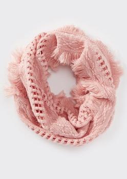 pink fluffy fringe weave infinity scarf - Main Image