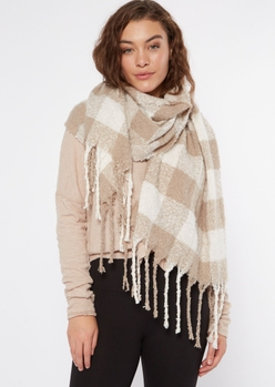 taupe plaid textured knit scarf - Main Image