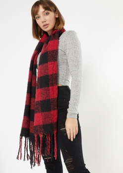 red plaid textured knit scarf - Main Image