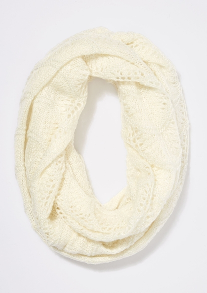 ivory open weave infinity scarf - Main Image