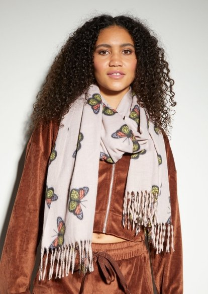 ivory butterfly print blanket scarf - Main Image