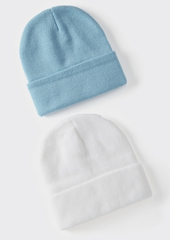 2-pack white and blue essential beanie set - Main Image
