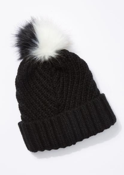 black cable knit two tone pom pom beanie - Main Image