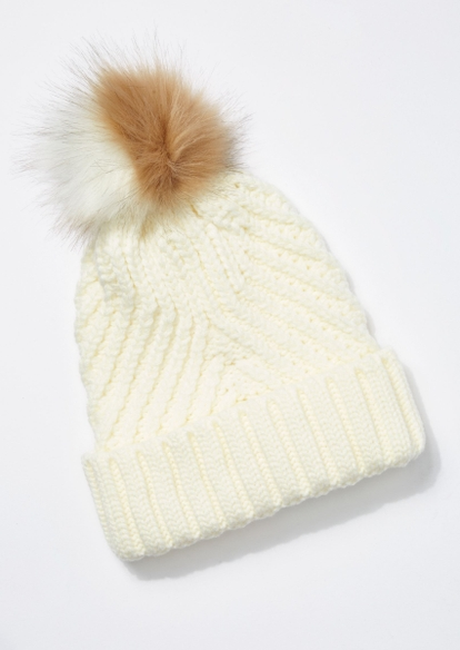 ivory cable knit two tone pom pom beanie - Main Image