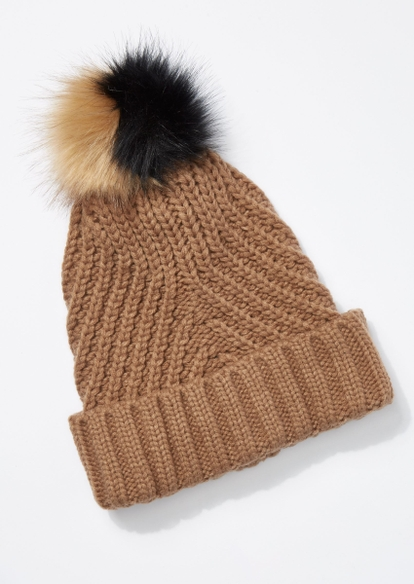 brown cable knit two tone pom pom beanie - Main Image