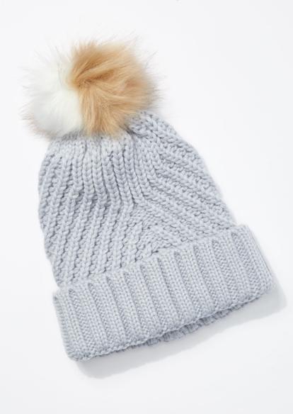 light blue cable knit two tone pom pom beanie - Main Image