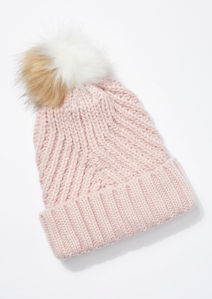 light pink cable knit two tone pom pom beanie - Main Image