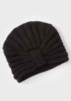 black ribbed headwrap hat - Main Image