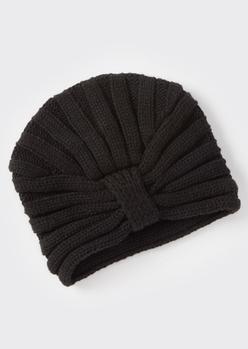 black ribbed headwrap hat - Main Image
