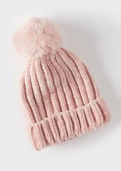 pink chenille pom pom beanie - Main Image