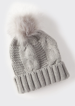 gray cable knit faux fur pom beanie - Main Image