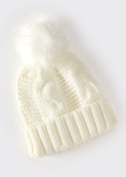 ivory cable knit faux fur pom beanie - Main Image