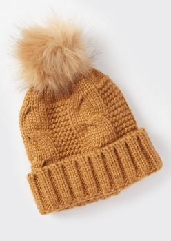 brown cable knit faux fur pom beanie - Main Image