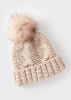 pink cable knit faux fur pom beanie - Main Image