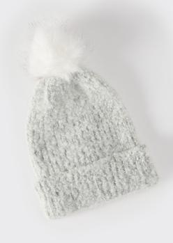 gray fuzzy faux fur pom beanie - Main Image