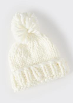 ivory cozy knit pom pom beanie - Main Image