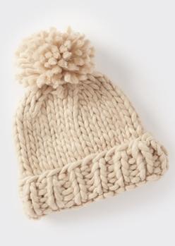 stone cozy knit pom pom beanie - Main Image