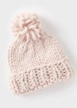 pink cozy knit pom pom beanie - Main Image