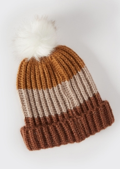 brown colorblock faux fur pom beanie - Main Image