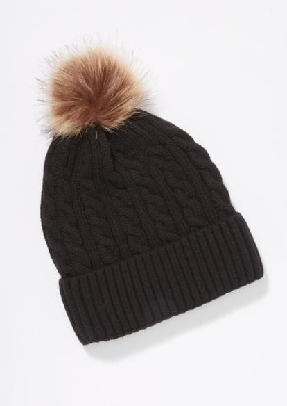 black cable knit pom pom beanie - Main Image