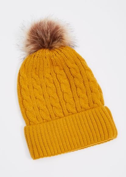 mustard cable knit pom pom beanie - Main Image