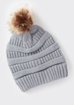 gray mixed knit pom pom hat - Main Image