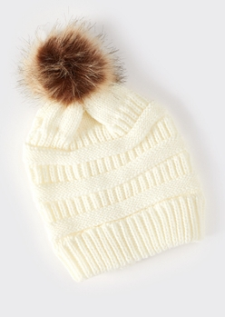 ivory mixed knit pom pom hat - Main Image