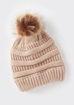 stone mixed knit pom pom hat - Main Image
