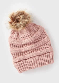 pink mixed knit pom pom hat - Main Image
