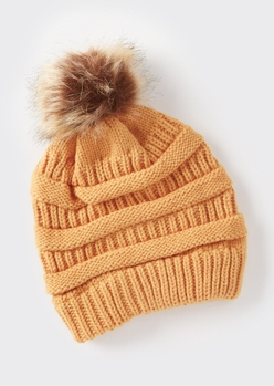 mustard mixed knit pom pom hat - Main Image