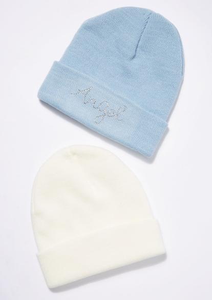 2-pack icy angel rhinestone beanie set - Main Image