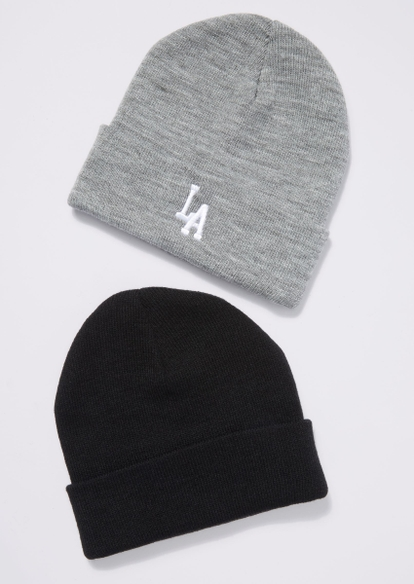 2-pack gray and black la embroidered beanie set - Main Image