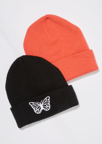 2-pack butterfly embroidered beanie set - Main Image