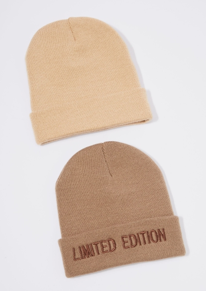 2-pack brown limited edition embroidered beanie set - Main Image
