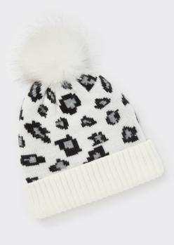 white leopard print pom pom beanie - Main Image