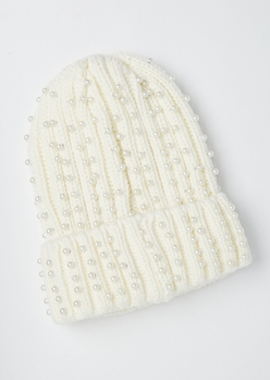 ivory pearl embellished beanie - Main Image
