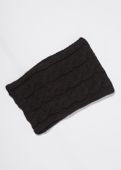 black cable knit headband - Main Image