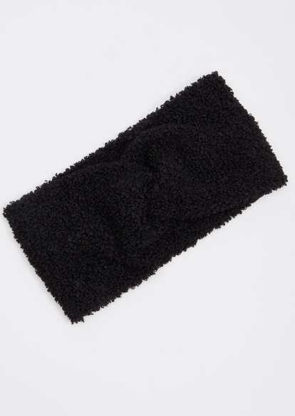 black sherpa braided headband - Main Image