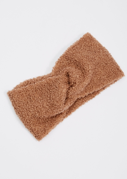 brown sherpa braided headband - Main Image