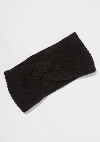 black cable knit braided headband - Main Image