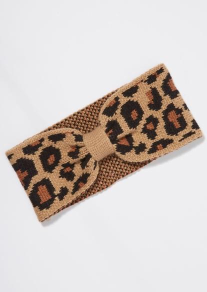 leopard cable knit bow headband - Main Image